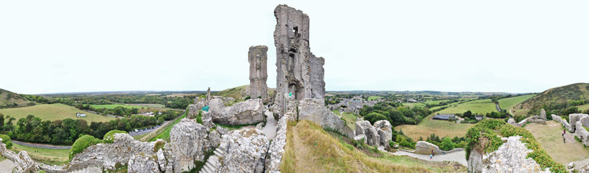Panorama of Corfe Castle
