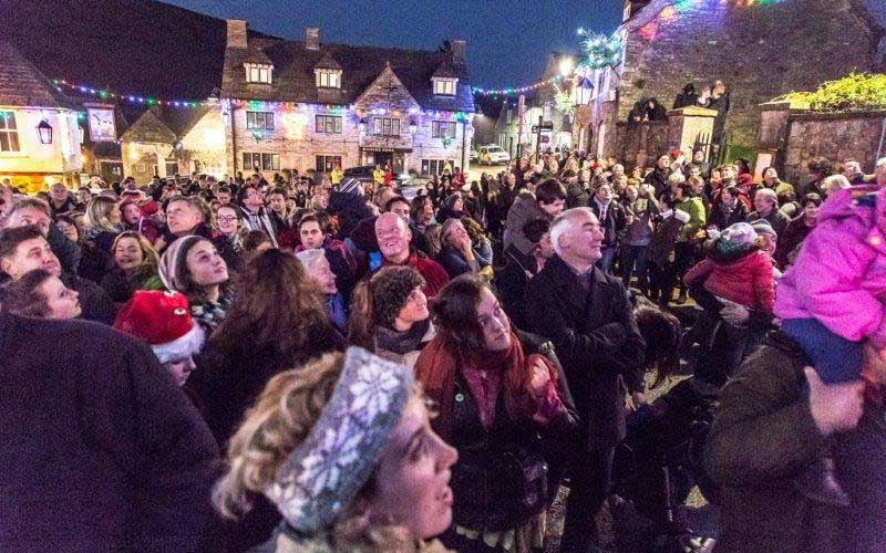 A great crowed for Lighting up Corfe at Christmas in 2014